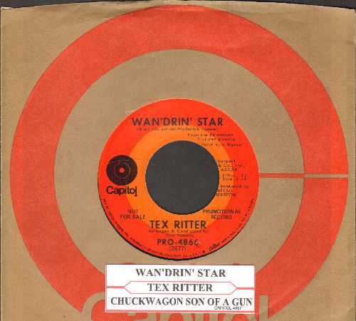 Ritter, Tex - I Dreamed Of Hill-Billy Heaven/The Wind And The Tree (with juke box label and Capitol company sleeve) - NM9/ - 45 rpm Records