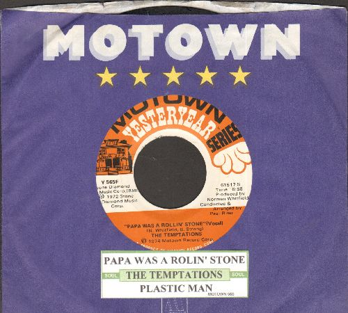 Temptations - Papa Was A Rolling Stone/Plastic Man (double-hit re-issue with juke box label and company sleeve) - NM9/ - 45 rpm Records