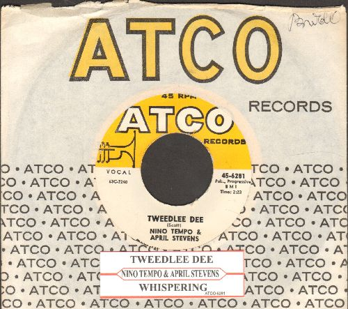 Tempo, Nino & April Stevens - Tweedlee Dee/Whispering (with vintage Atco company sleeve and juke box label) - NM9/ - 45 rpm Records