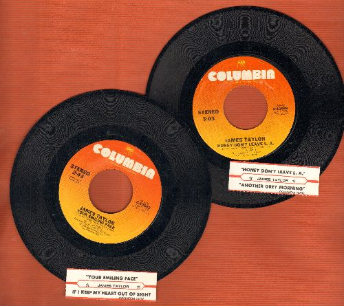 Taylor, James - 2 first issue 45s for the price of 1! - Another Grey Morning and Your Smiling Face, shipped in plain white paper sleeves with juke box labels! - NM9/ - 45 rpm Records