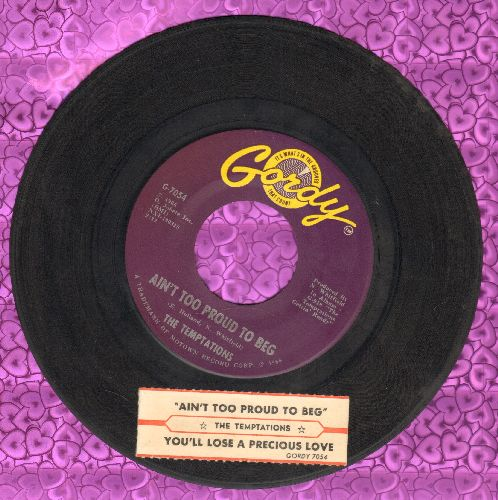 Temptations - Ain't Too Proud To Beg/You'll Lose A Precious Love (with juke box label) - EX8/ - 45 rpm Records