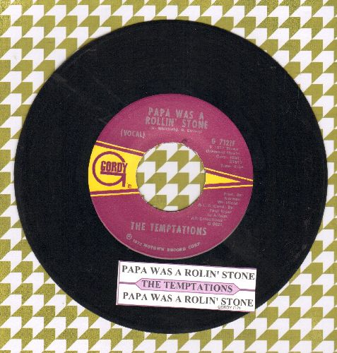 Temptations - Papa Was A Rolling Stone/Papa Was A Rolling Stone (Instrumental) (with juke box label) - EX8/ - 45 rpm Records