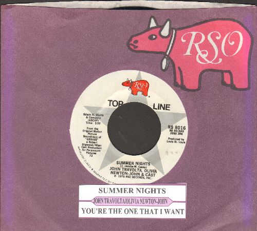 Travolta, John & Olivia Newton-John - Summer Nights (SING-A-LONG FAVORITE!)/You're The One That I Want (both songs featured in film -Grease-) (with company sleeve and juke box label) - NM9/ - 45 rpm Records