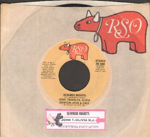 Travolta, John & Olivia Newton-John - Summer Nights (SING-A-LONG FAVORITE!)/Rock 'N' Roll Party Queen (by Louis St. Louis on flip-side, both songs featured in film -Grease-) (with company sleeve and juke box label) - NM9/ - 45 rpm Records