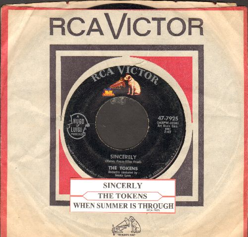 Tokens - Sincerely/When Summer Is Through (with juke box label and RCA company sleeve) - EX8/ - 45 rpm Records