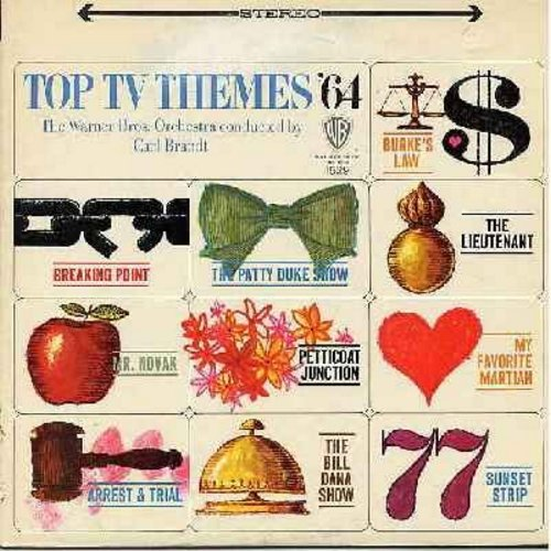 Warner Brothers Orchestra conducted by Carl Brandt - Top TV Themes '64: Petticoat Junction, The Patty Duke Show, My favorite Martian, 77 Sunset Strip, Arrest And Trail (Vinyl STEREO LP record) - M10/NM9 - LP Records