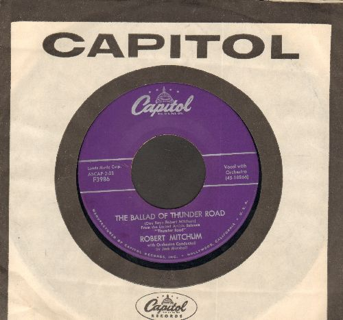 Mitchum, Robert - The Ballad Of Thunder Road/My Honey's Lovin' Arms (purple label early pressing with vintage Capitol company sleeve) - EX8/ - 45 rpm Records
