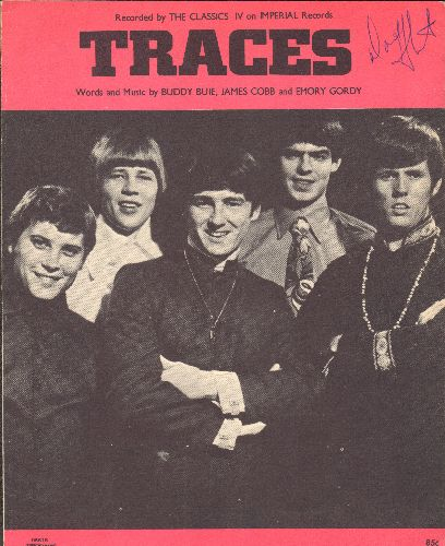 Classics IV - Traces - Vintage SHEET MUSIC for the Psychedelic Hit by The Classics IV , NICE cover portrait of Group! - EX8/ - Sheet Music