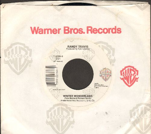 Travis, Randy - Winter Wonderland/Oh, What A Silent Night (with Warner Brothers company sleeve and juke box label) - EX8/ - 45 rpm Records