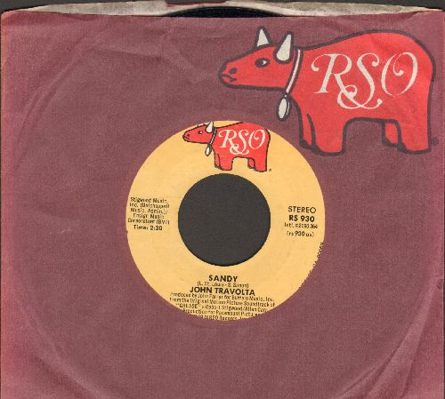 Travolta, John - Sandy/Blue Moon (by Sha-Na-Na on flip-side) (both songs featured in film -Grease-, with RSO company sleeve) - NM9/ - 45 rpm Records