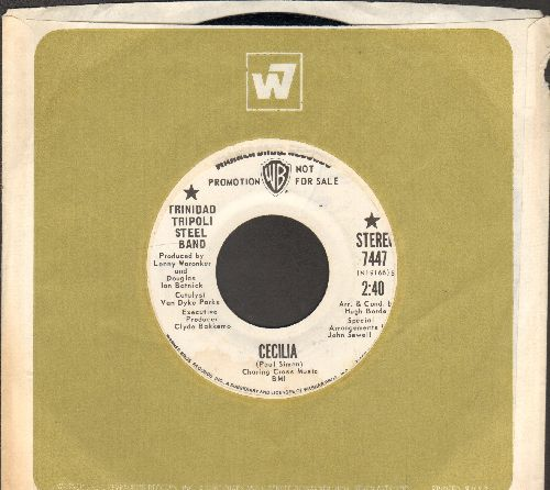 Trinidad Tripoli Steel Band - Cecilia/Sock It To Me (DJ advance pressing with Warner Brothers company sleeve) - EX8/ - 45 rpm Records