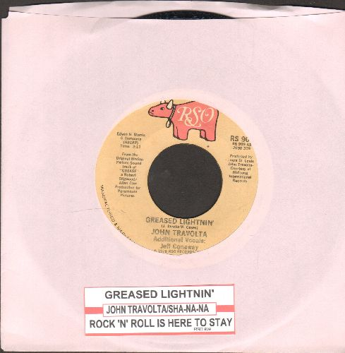Travolta, John - Greased Lightning/Rock 'N' Roll Is Here To Stay (by Sha Na Na) (both songs from film -Grease-) (with juke box label) - EX8/ - 45 rpm Records