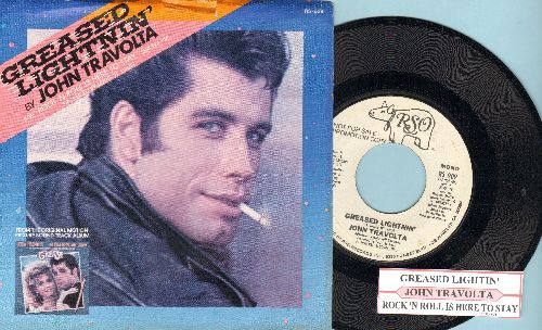 Travolta, John - Greased Lightning (RARE double-A-sided DJ advance pressing with juke box label and picture sleeve) - NM9/EX8 - 45 rpm Records