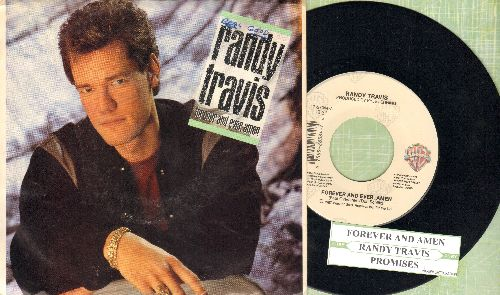 Travis, Randy - Forever And Ever Amen/Promises (with picture sleeve and juke box label) - NM9/ - 45 rpm Records