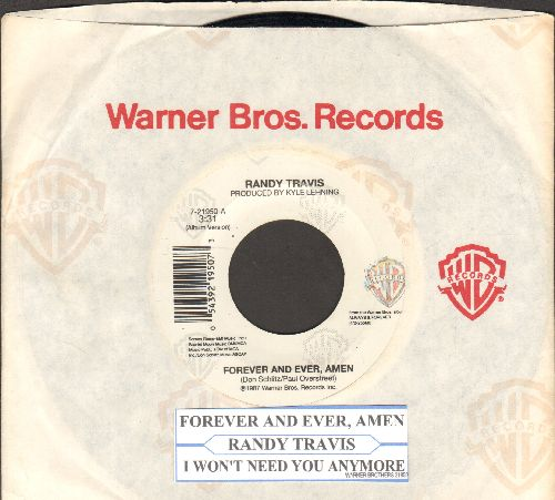 Travis, Randy - Forever And Ever, Amen/I Won't Need You Anymore (with Warner Brothers company sleeve and juke box label) - NM9/ - 45 rpm Records
