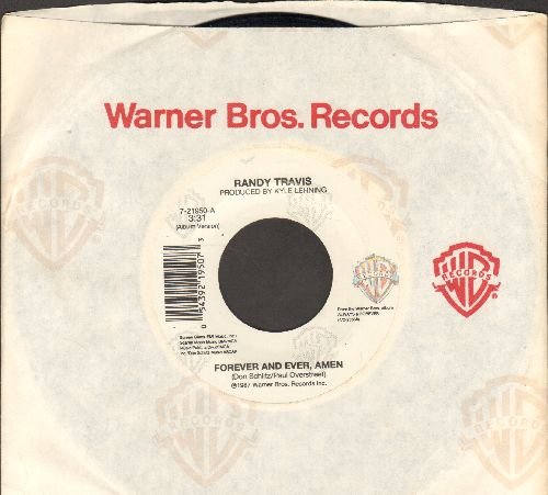 Travis, Randy - Forever And Ever, Amen/I Won't Need You Anymore (with Warner Brothers company sleeve) - NM9/ - 45 rpm Records