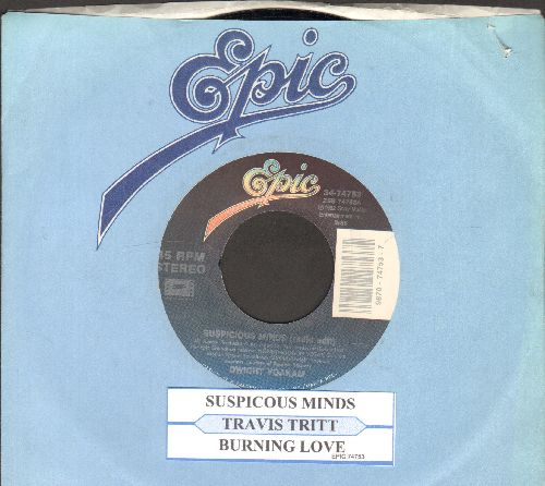 Tritt, Travis - Burning Love/Suspicious Minds (EXCELLENT updated Country/Western versions of the legendary Elvis Presley Hits!)(with juke box label and company sleeve) - NM9/ - 45 rpm Records