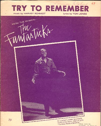Belafonte, Harry - Try To Remember - Vintage SHEET MUSIC for the love ballad from Broadway's -The Fantastiks-. NICE cover art featuring originating star Harry Belafonte! - EX8/ - Sheet Music