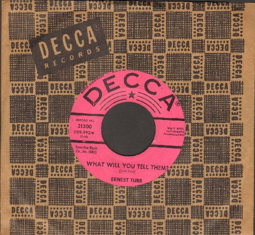 Tubb, Ernest - What Will You Tell Them?/Through That Door (DJ advance pressing with Decca company sleeve) - NM9/ - 45 rpm Records