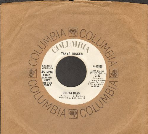 Tucker, Tanya - Delta Dawn (double-A-sided DJ advance pressing with Columbia company sleeve) - VG7/ - 45 rpm Records