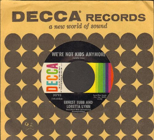 Tubb, Ernest & Loretta Lynn - We're Not Kids Anymore/Our Hearts Are Holding Hands (with vintage Decca company sleeve) - NM9/ - 45 rpm Records