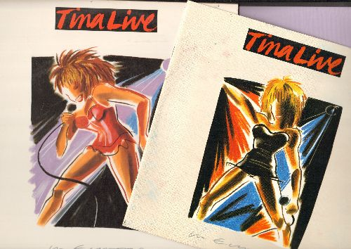 Turner, Tina - Tina Live In Europe: Typical Male, Private Dancer, What's Love Got To Do With It (2 vinyl LP records in gate-fold cover, with BONUS Booklet! - bb in upper right cover corner) - NM9/EX8 - LP Records