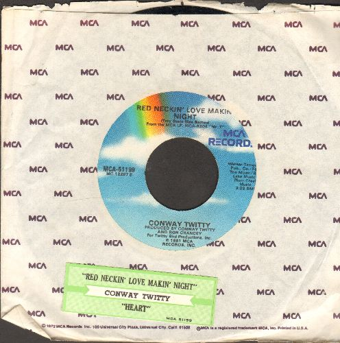 Twitty, Conway - Red Neckin' Love Makin' Night/Hearts (with juke box label and MCA company sleeve) - VG7/ - 45 rpm Records