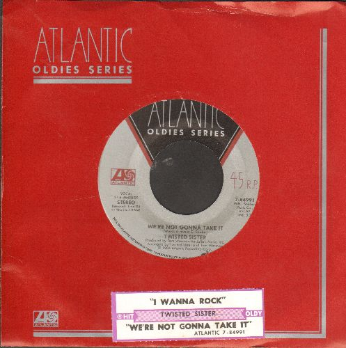 Twisted Sister - We're Not Gonna Take It/I Wanna Rock (double-hit re-issue with Atlantic company sleeve juke box label) - NM9/ - 45 rpm Records