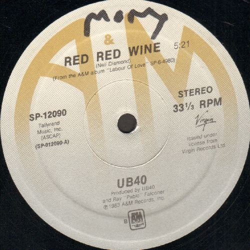 UB40 - Red, Red Wine (PARTY FAVORITE!)/She Caught The Train (12 inch vinyl Maxi Single) - EX8/ - Maxi Singles