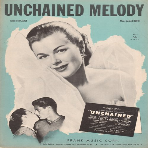 Hibbler, Al - Unchained Melody - Vintage SHEET MUSIC for song featured in film -Unchained- and made popular by Al Hibbler - (This is SHEET MUSIC, not any other kind of media!) - EX8/ - Sheet Music
