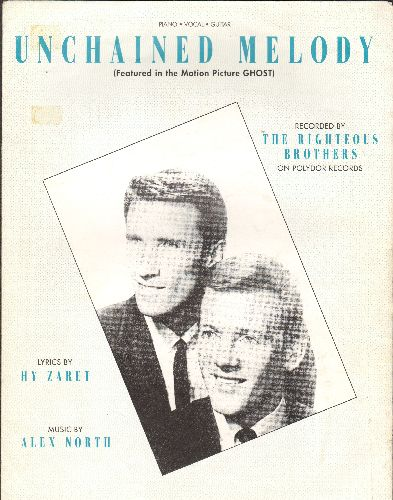 Righteous Brothers - Unchained Melody - SHEET MUSIC for the popular love ballad - BEAUTIFUL cover portrait of Righteous Brothers! (3-ring-binder holes on left)  - EX8/ - Sheet Music
