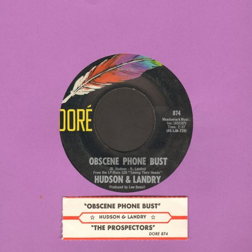 Hudson & Landry - Obscene Phone Bust/The Prospectors (with juke box label) - EX8/ - 45 rpm Records