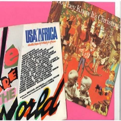 Band Aid/USA For Africa - Do They Know It's Christmas/We Are The World - 2 Original first issue Christmas Novelty Records with picture sleeve for the price of 1! - NM9/VG7 - 45 rpm Records