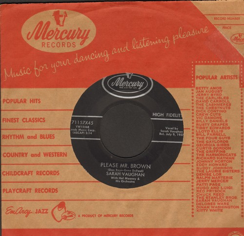 Vaughan, Sarah - Please Mr. Brown/Band Of Angels (with Mercury company sleeve) - NM9/ - 45 rpm Records