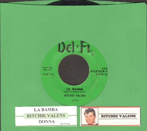 Valens, Ritchie - La Bamba/Donna (solid green label, black logo with juke box label) - VG7/ - 45 rpm Records