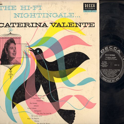 Valente, Caterina - The Hi-Fi Nightingale: Temptation, The Breeze And I, Fiesta Cubana, Malaguena, Jalousie, The Way You Love Me (Vinyl MONO LP record, NICE condition!) - EX8/VG7 - LP Records