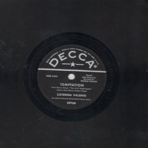 Valente, Caterina - Temptation/Siboney (10 inch 78rpm record) - EX8/ - 78 rpm