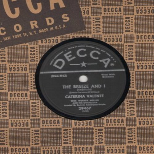 Valente, Caterina - The Breeze And I/Jalousie (10 inch 78rpm records with Decca company sleeve) - EX8/ - 78 rpm