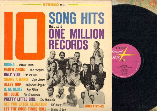 Crescendos, Penguins, Ritchie Valens, Platters, others - 10 Song Hits That Sold One Million Records: Donna, Earth Angel, Alley Oop, See You Later Alligator (Vinyl STEREO LP record) - VG7/NM9 - LP Records
