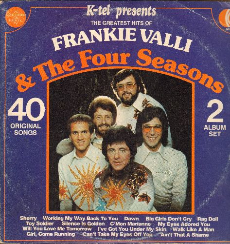 Valli, Frankie & The Four Seasons - The Greatest Hits: Big Girls Don't Cry, Can't Take My Eyes Off You, Sherry, Alone, Walk Like A Man (1977 issue of vintage recordings, 2 vinyl LP records, gate-fold cover) - EX8/VG7 - LP Records
