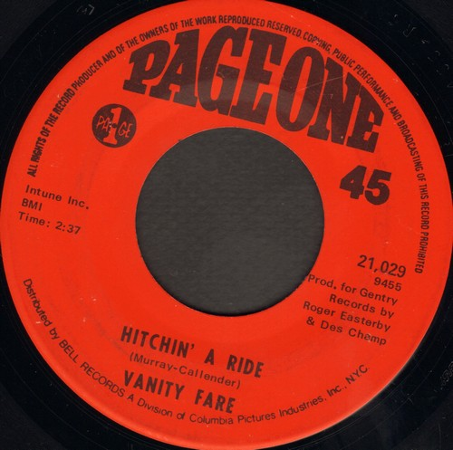 Vanity Fare - Hitchin' A Ride/Man Child - EX8/ - 45 rpm Records