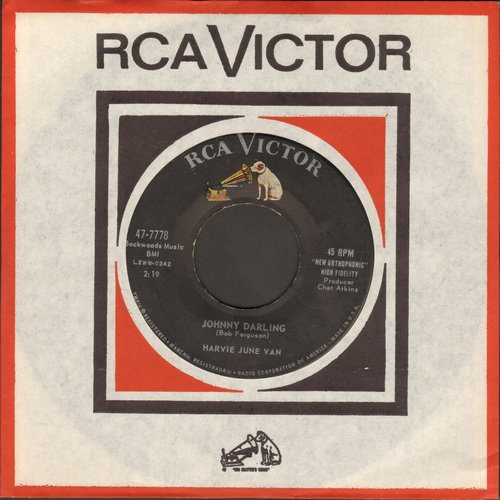 Van, Harvie June - Johnny Darling/Little Wooden Man (with vintage RCA company sleeve) - EX8/ - 45 rpm Records