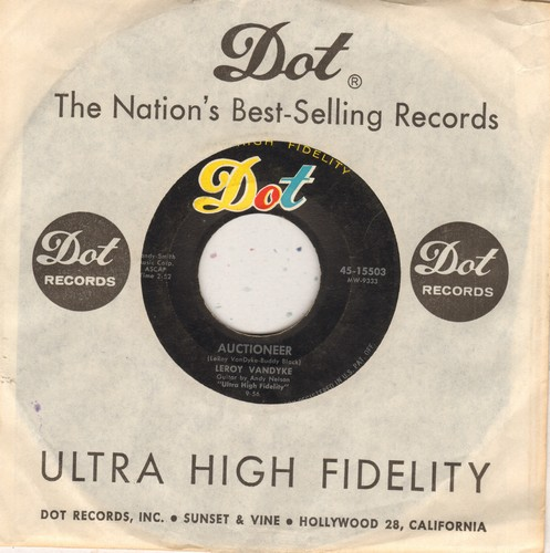 Van Dyke, Leroy - Auctioneer/I Fell In Love With A Pony-Tail (with Dot company sleeve) - EX8/ - 45 rpm Records