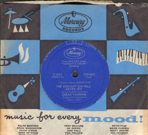 Vaughan, Sarah - The Midnight Sun Will Never Set/I'll Close My Eyes (RARE 7 inch 33rpm STEREO record, MINT condition with Mercury company sleeve) - M10/ - 45 rpm Records