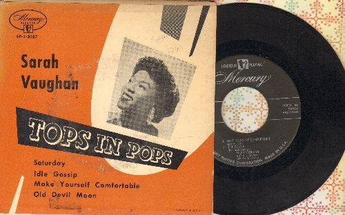 Vaughan, Sarah - Tops In Pops: Make Yourself Comfortable/Old Devil Moon/Saturday/Idle Gossip (vinyl EP record with picture cover) - EX8/VG7 - 45 rpm Records