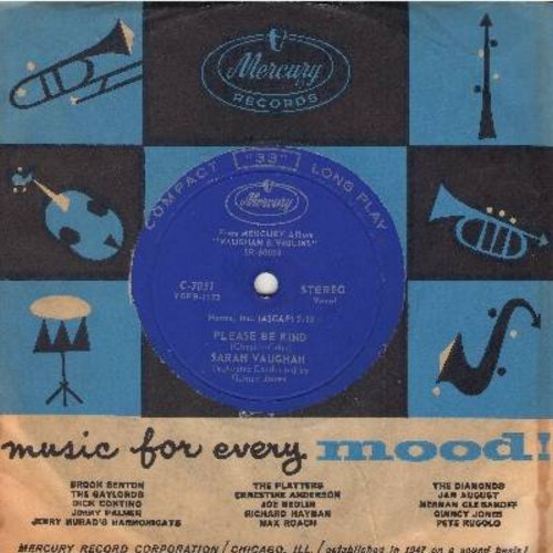Vaughan, Sarah - Please Be Kind/Day By Day (7 inch 33rpm STEREO record, small spindle hole, with vintage Mercury company sleeve) - M10/ - 45 rpm Records