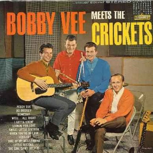 Vee, Bobby - Bobby Vee Meets The Crickets: Peggy Sue, Bo Diddley, Someday, Lucille, Girl Of My Best Friend, The Girl Can't Help It (Vinyl STEREO LP record) - VG6/VG7 - LP Records