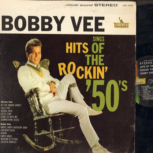 Vee, Bobby - Hits Of The Rockin' 50s: Lollipop, Little Star, Come Go With Me, Earth Angel, Donna (Vinyl STEREO LP record) - VG6/VG7 - LP Records