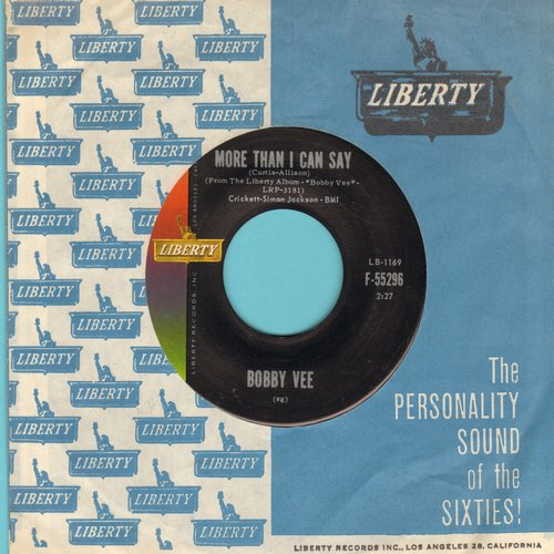 Vee, Bobby - More Than I Can Say/Stayin' In (MINT condition with Liberty company sleeve) - NM9/ - 45 rpm Records