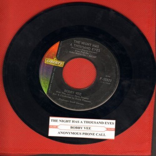 Vee, Bobby - The Night Has A Thousand Eyes/Anonymous Phone Call (with juke box label) - EX8/ - 45 rpm Records